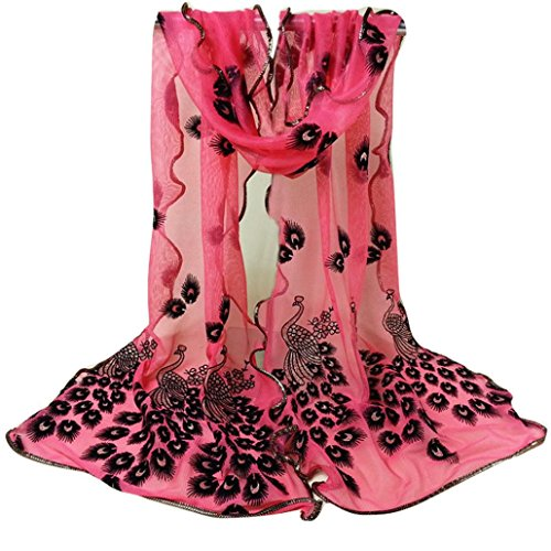 Scarves,Lookatool Women Peacock Embroidered Lace Scarf Long Soft Wrap Shawl - Knit Wool Fringed Long Scarf