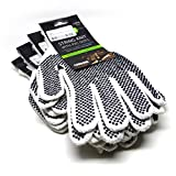 Machine String Knit Goves with PVC Dots - Bleached White - Large (4 Pack)