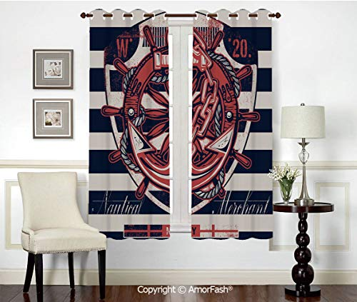 (PUTIEN Decorative Curtains Room Darkening Thermal Insulated Curtains,Grommet Top,42x63 Inch Anchor Marine Symbol Design Rudder Rope Anchor Chain Navy Striped Backdrop Merchant Decorative)