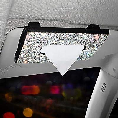 ZJP Car Visor Mask Pure Handmade Crystal Diamond Auto Napkin Box Holder PU Leather Backseat Paper Towel Box Bling Bling Glitter Mask Hook Clip for Women Black