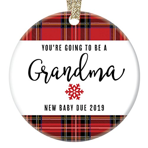 You#039re Going To Be A Grandma Ornament 2019 Pregnancy Announcement New Grandmother Gift 3quot Flat Circle Porcelain Christmas Ornament with Glossy Glaze Gold Ribbon amp Free Gift Box | OR00017 Mason