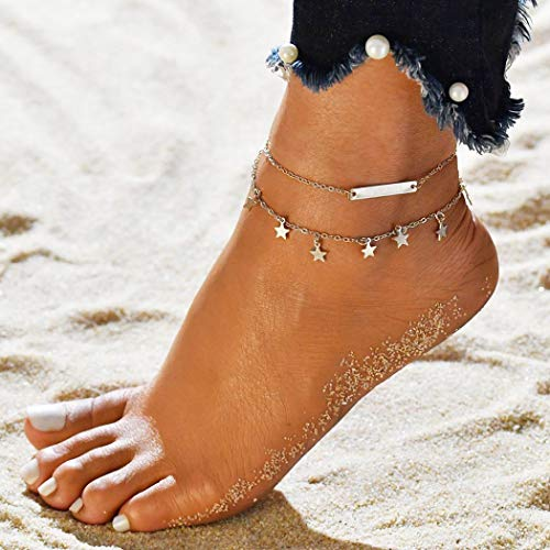 (Simsly Anklet Bracelet with Star Tassel Silver Ankle Chain for Women and Teen Girls (Silver))