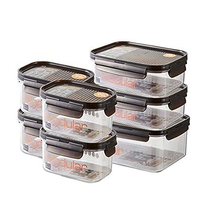 Lock & Lock Set de 7 Recipientes de Comida BISFREE - Contenedor para Alimentos Sin BPA