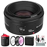 Yongnuo YN 50mm f/1.8 Lens for Nikon F with Xpix Protective Lens Pouch and Accessory Bundle