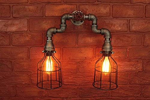 Vanity Hall Bathroom Furniture (Wall Sconce Industrial Lighting w/ Cages, Black Pipe Steampunk Bathroom vanity light fixture. intage Edison Light bulbs, Loft art pipe light)