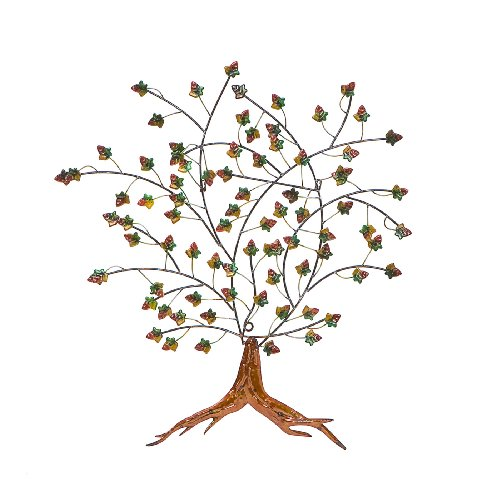 - Southern Enterprises Autumn Tree Decorative Wall Art - Hand Painted Finish - Metal Frame w/ 3D Design