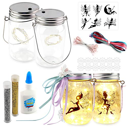 Koogel Fairy Jar Kits for Girls, 2PCS Fairy Lanterns with Various Fairy Light Crafts Kit for Girls Night Lights DIY Creation Birthday Thanksgiving Christmas.