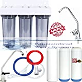 CLEAR TRIPLE UNDER SINK FILTER SYSTEM SEDIMEN/FLUORIDE/ARSENIC CARBON/KDF FAUCET