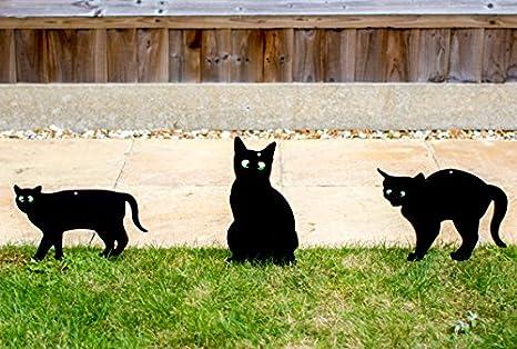 Pestbye Set de 3 Siluetas de Gatos Ahuyentadores con Ojos en Relieve, Black: Amazon.es: Jardín