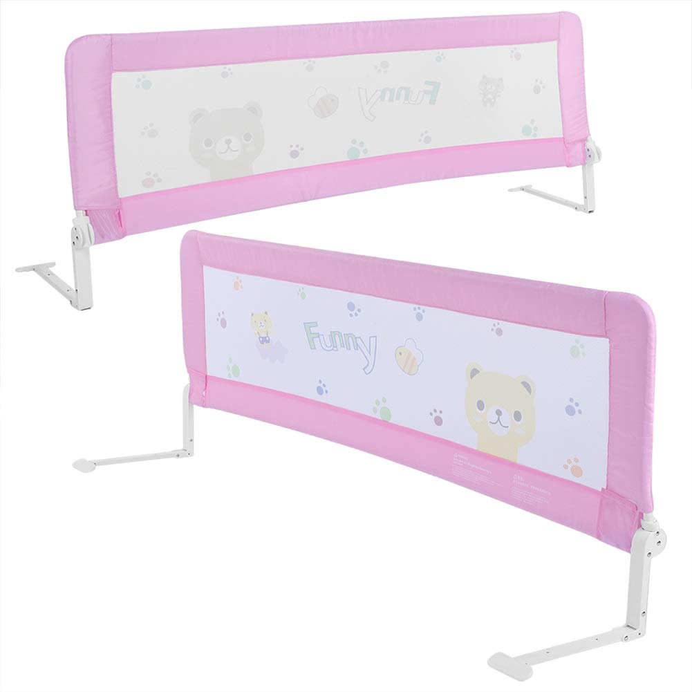 Bed Rail Foldable Child Toddler Bed Rail Safety Protection Guard Light-Weight Pink 180CM