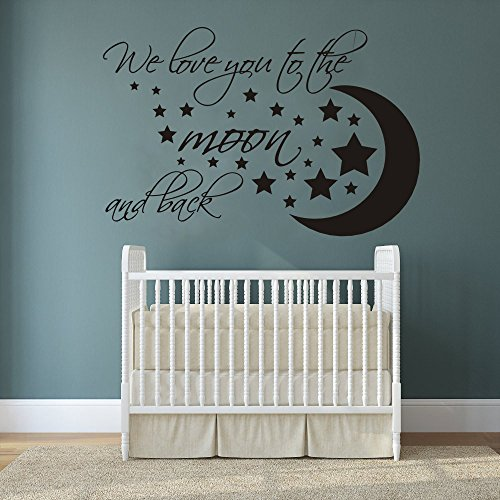 Wall Decal Decor We love you to the moon and back - Nursery Wall Decals - Baby Crib Kids Room Children Room Wall Art Vinyl Sticker(Black, 11