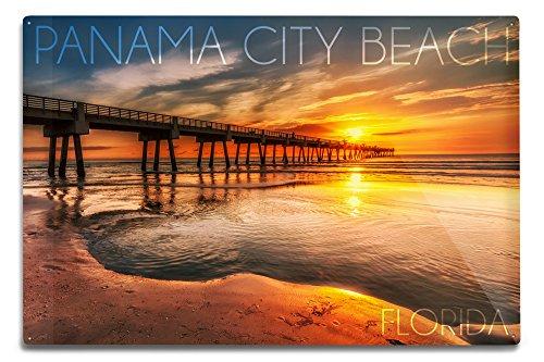 Panama City Beach, Florida - Pier and Sunset (12x18 Aluminum Wall Sign, Wall Decor Ready to - Panama Beach Pier City
