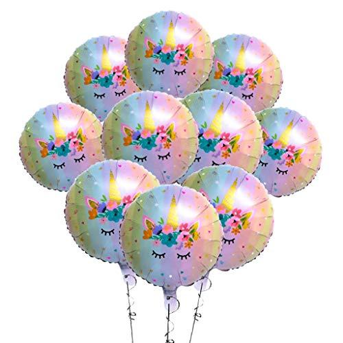 (Zeylo Party Supply Pastel Rainbow Unicorn Round Foil Mylar Balloon, 18 inch (10))