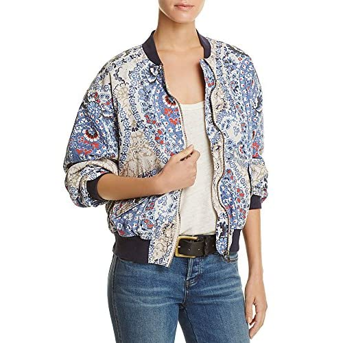 Free People Womens Printed Long Sleeves Bomber Jacket hot sale