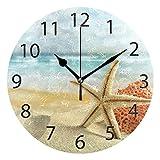 ALAZA Beach Seashell Starfish Round Acrylic Wall Clock, Silent Non Ticking Oil Painting Home Office School Decorative Clock Art