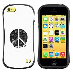 Suave TPU GEL Carcasa Funda Silicona Blando Estuche Caso de protección (para) Apple Iphone 5C / CECELL Phone case / / peace hippie white black pen art sign /