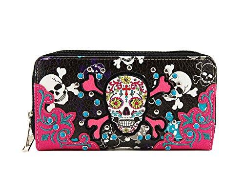 rn Sugar Skull Wallet with Two Around Zip Closure (Fuchsia) (Trendy Western Wallet)