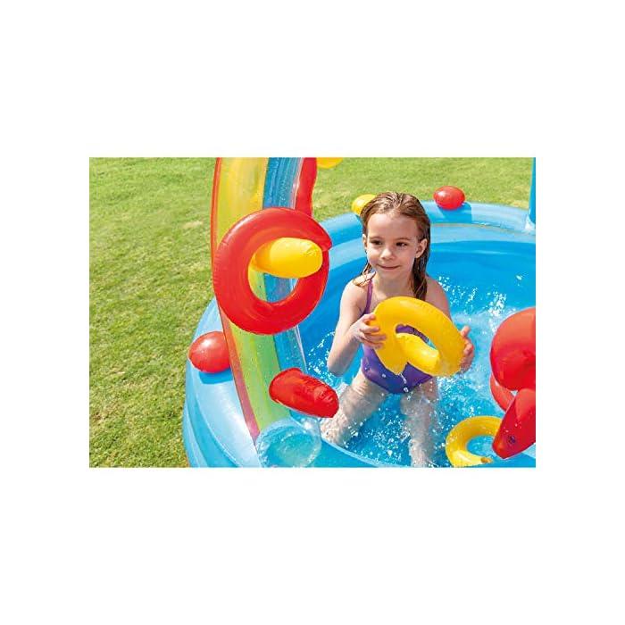 51QgRlt6UkL Centro de juegos hinchable con forma circular y un arco iris, medidas de 297 x 193 x 135 cm 2 piscinas: una grande con capacidad para 201 litros de agua y otra más pequeña de 227 litros de agua (tiene más altura que la grande) Incluye un tobogán con base acolchada para amortiguar la bajada