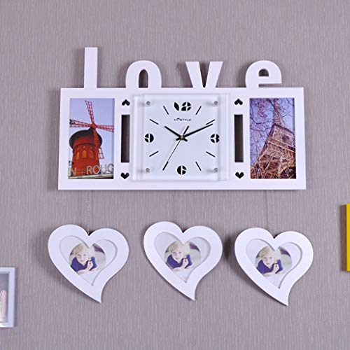 (Wall Clock Wall-Shaped Heart-Shaped Love Frame Hanging Wall Living Room Creative Mute Personality Art Decoration Wedding Room Quartz Clock (Color : White))