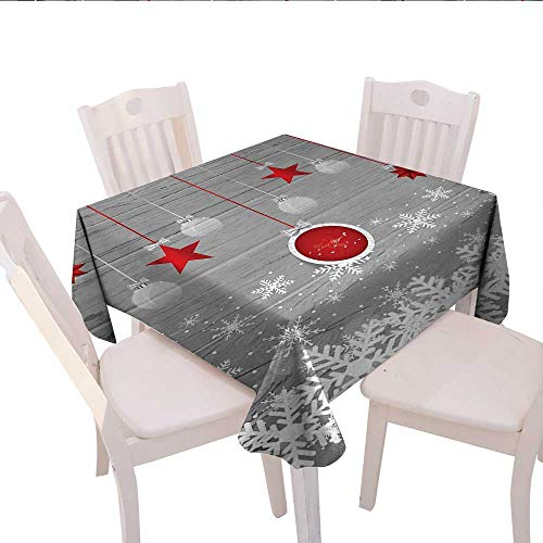 Christmas Square Tablecloth Traditional Celebration Theme with Pendant Stars Baubles Ornate Snowflakes Farmhouse Tablecloth 50