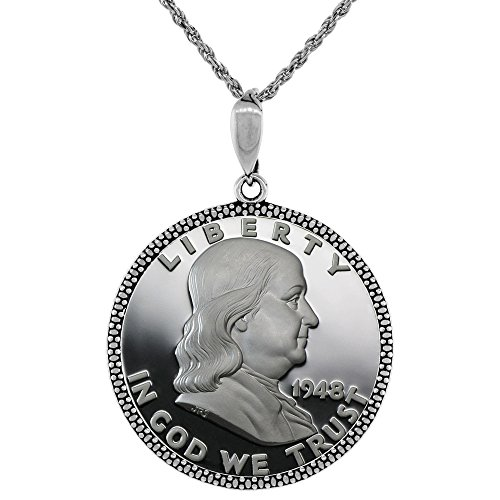 Sterling Silver Half Dollar Bezel 30 mm Coins Prong Back Illusion Edge 50 Cent (Bezel Coin Dollar)
