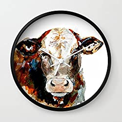 Society6 Cow Watercolor Wall Clock Black Frame, White Hands