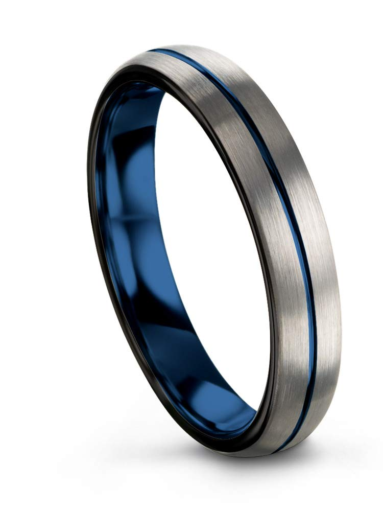 Chroma Color Collection Tungsten Wedding Band Ring 4mm for Men Women Blue Grey Center Line Dome Brushed Size 11