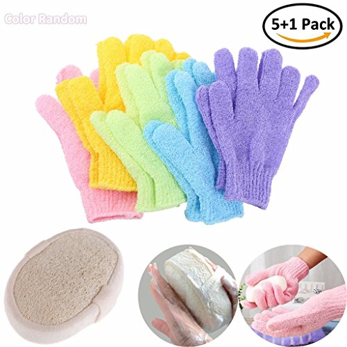 Price comparison product image AiQueen 6 Packs Natural Loofah Sponge Exfoliating Bath Gloves Polyester Shower Gloves Scrubber Double Side Massage Dead Skin Cell Remover
