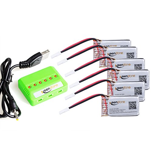 6 Pcs of Keenstone 3.7V 400mAh 25C LiPO Battery w/6-Port Battery Charger for Holy Stone HS170 Hubsan X4 (H107,H107C,H107D,H107L,V252,JXD385,F180C),UDI U816A, JJRC H6C,Mini CP,Genius CP