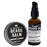 Beard Balm + Beard Oil Pump Set - Essential (Unscented)- All Natural, Hand Crafted in USA
