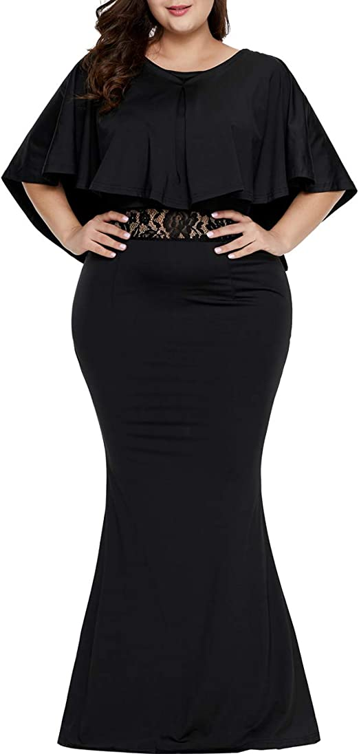 LALAGEN Womens Plus Size Ruffle Mermaid Formal Gown Evening Party Maxi Dress