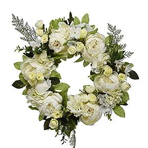 "16"" Peony Hydrangea Wreath,Artificial Peony Flower Wreath Door Wreath with Green Leaves Spring Wreath for Front Door,Wedding,Wall, Home Decor 4"