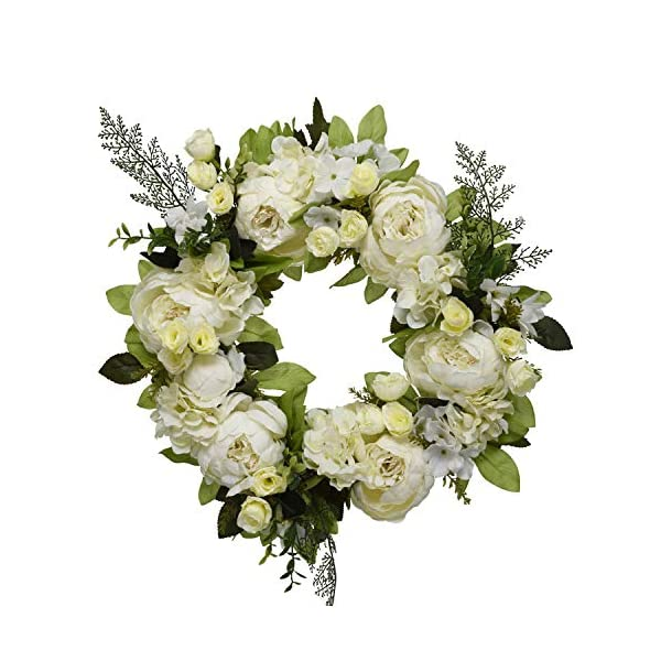 16″ Peony Hydrangea Wreath,Artificial Peony Flower Wreath Door Wreath with Green Leaves Spring Wreath for Front Door,Wedding,Wall, Home Decor