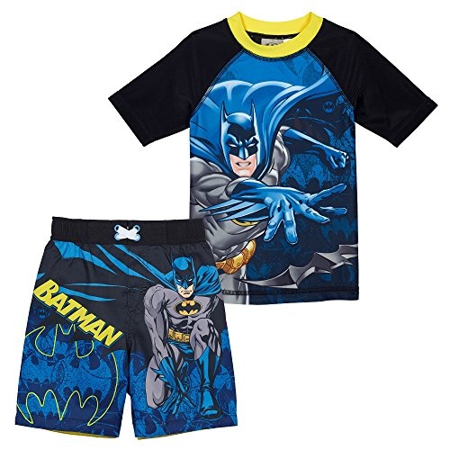 Superhero Little Boys' 2 Piece UPF 50 Rashguard Swim Trunk Set, Batman, 4T