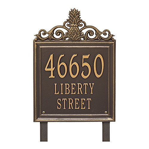 "Custom Lanai Pineapple Estate LAWN Address Plaque 19""H (3 Lines) (Whitehall Pineapple)"