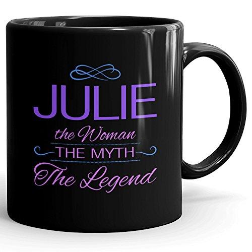 Julie on mug - The Woman The Myth The Legend - Woman Gifts for Wife, Mom, Girlfriend - 11oz Black Mug - Purple