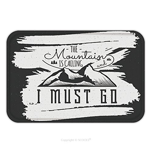 Costume Designer Template (Flannel Microfiber Non-slip Rubber Backing Soft Absorbent Doormat Mat Rug Carpet Mountain Is Calling Adventure Motivation Background Inspiration Quote Template Winter Snowboard 351188033 for Indoor/Ou)