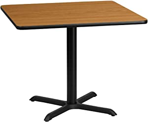 Flash Furniture 36'' Square Natural Laminate Table Top with 30'' x 30'' Table Height Base