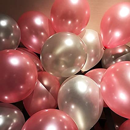 AnnoDeel 50 Pcs 12inch Pink And Silver Balloons Pearl Latex Light