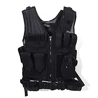 GOTICAL Tactical Outdoor Law Enforcement Tactical Vest Adjustable Adult SWAT Military Police Vest Tactical Outdoor Vest Defense Vest