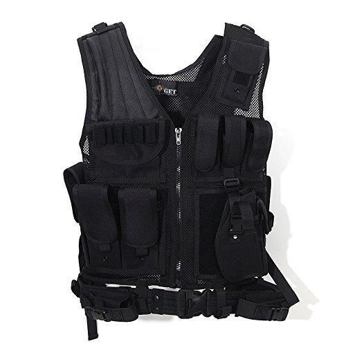 Tactical Outdoor Law Enforcement Tactical Vest Adjustable Adult SWAT Military Police Vest Tactical Outdoor Vest (Black)