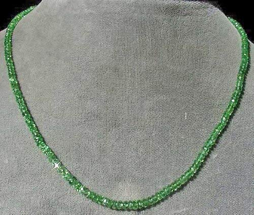 7 Beads of Tsavorite Garnet Faceted Roundel Beads for Jewelry Making 3287