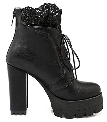 High Shoes Block Boots Ankle Platform Womens Lace Zip Lace up Vitalo Booties Heel up Black OpqSwRW5