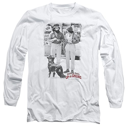 Cheech & Chong Up in Smoke Famous Comedy Duo Funny Square Adult L-Sleeve T-Shirt White]()
