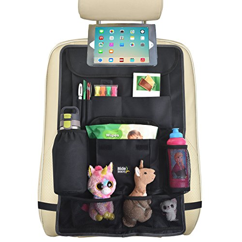 Backseat Car Organizer :: Extra Large (26.7 x 17.7) Hanging Storage Bag with Easy Access Tablet Holder + Multiple Pockets :: Fits All Car Seats, Hangs Flat, Holds Toys, Bottles & More by Ride Beauty