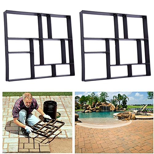 Rectangle DIY Pavement Mold Walk Maker Path Maker Brick Mold Concrete Form Pathmate Stepping Stone Molds for Concrete Mould Reusable for Garden, Court Yards, Patios and Walks, 23.6 x 19.7inches, 2Pack (And Border Brick Concrete Patio)