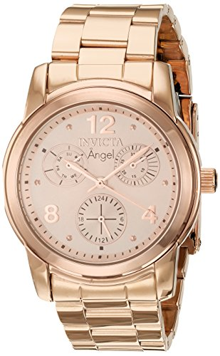 Invicta Angel Lady 38mm Stainless Steel Rose Gold Dial VH68 Quartz Watch
