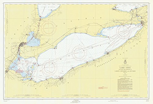 Map - Lake Erie General, 1956 Nautical NOAA Chart - Vintage Wall Art - 66in x 44in (Chart Depth Erie Lake)