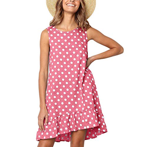 NICIAS Women Casual Polka Dot Sleeveless Tunic Ruffle Hem Swing Midi Dresses with Pockets Pink -