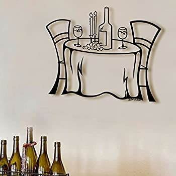 Amazon.com: Wine Table 3D-Metal Wall Art Decor Sculpture - 23\